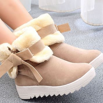 New thick-soled non-slip bowknot two-wear plus velvet warm cotton mid-tube boots women