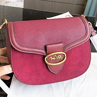 COACH New fashion leather shoulder bag women crossbody bag Burgundy