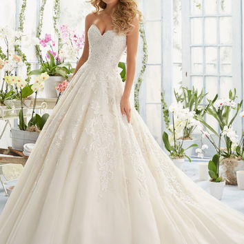 Elegant Embroidery on Classic Tulle Wedding Dress   Style 2808   Morilee