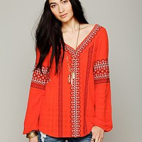 Free People Womens All Roads Embroidery Double V Tunic - Wild Cherry XS