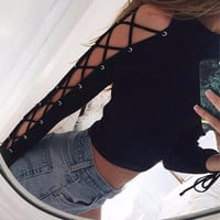 Fashion Female Solid Color Sleeve Hollow Irregular Crisscross Strappy Round Neck Long Sleeve T-shirt Crop Top