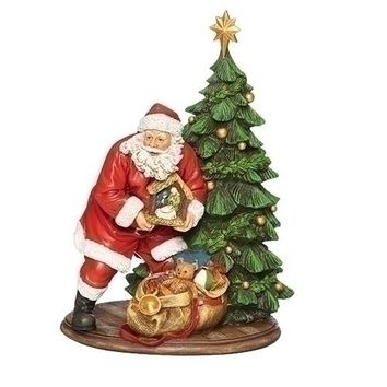 Roman Santa With Nativity By The Tree-132295