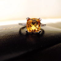 (Basking Star) natural 2 carat Citrine Emerald Cut  925 Solid Sterling Silver