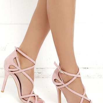Forever In Love Nude Suede Caged Heels