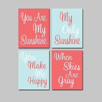 Coral Light Blue You Are My Sunshine 8x10 Set of 4 Wall Art Decor Prints Poster Nursery Child Kid Room