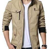 Solid Cotton Stand Collar Jacket
