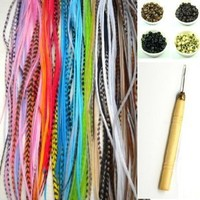 """NEW 7""""-11"""" Feather Hair Extension Kit 10 Long Multi color Genuine Single Feathers + 10 Micro Beads & hook Tool (You will get mixed colors): Beauty"""