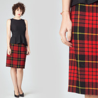 80s Red Tartan Midi Skirt / Wool Plaid Tube Skirt / Winter Fitted Pencil Large L Skirt