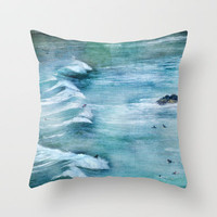 Surfing Day at Sagres beach Throw Pillow by Guido Montañés