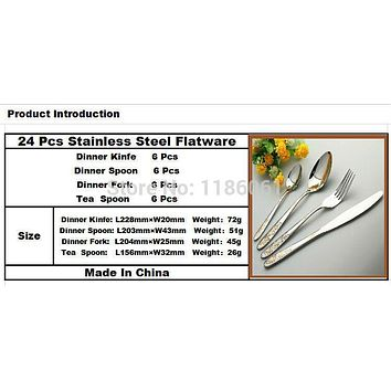 24pcs Stainless Steel Flat ware Sets Gold Plated Cutlery Dinner Set Tableware Silverware Dinner Fork Spoons Knife