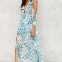 Major Scales Plunging Maxi Dress