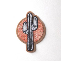 Hand Embroidered Patch, Sunset Cactus. Wool Blend Felt Sew On Patch, Cactus Patch, Succulent, Southwest, Sun Gift Idea. Made to Order ~ 3.5""