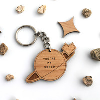 Valentine's Day Etsy You're My World Keychain - Laser Cut Wooden Geeky Science Space Keychain For Him For Her