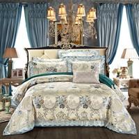 4Pieces King Queen size Luxury Satin Cotton Wedding Royal Bedding set  Duvet cover Bed sheet set Pillowcase Bedclothes