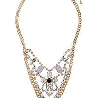 Premium Pink and Crystal Drape Necklace