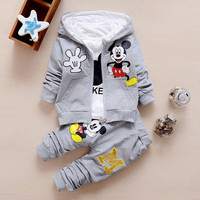 Chidren Kids Boys Clothing Set Autumn Winter 3 Piece Sets Hooded Coat Suits Fall Cotton Baby Boys Clothes Mickey