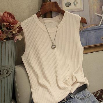 Knitted Vests Women Top O-neck Solid Tank Fashion Female Sleeveless Casual Thin Tops Summer Knit Woman Shirt Gilet Femme