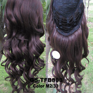 "HOT 3/4 HALF LONG CURLY WAVY WIG HEAT RESISTANT SYNTHETIC WIG HAIR 200G 24"" HIGHLIGHTED CURLY WIG HAIRPIECES WITH COMB WIG HAIR GS-TFB888 M2/33"