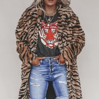 Tessa Tiger Printed Faux Fur Long Coat
