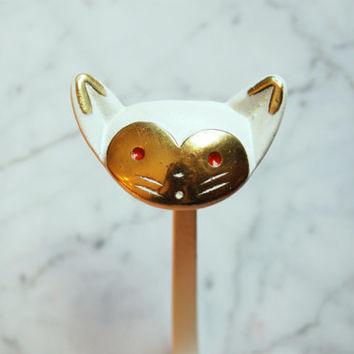 Vintage Metal Hook / Rare Walter Bosse Cat Coat Hanger / White and Gold / Made in Austria