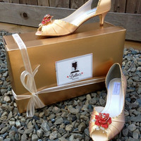 Belle Beauty and the Beast Rose Adult Pair Shoes Dress Shoes Kitten Heels Custom Made