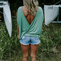 Party Out Back - Open Back Top - Green RESTOCK