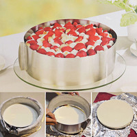 1 Pc Retractable Stainless Steel Circle Mousse Ring Baking Tool Set Cake Mould Mold Size Adjustable Bakeware 16-30cm 1607709