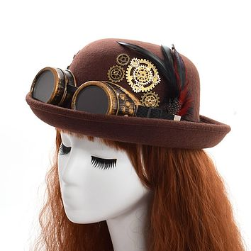 Handmade Steampunk Fedora Hat With Goggles (Brown/Black)