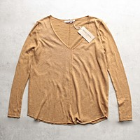 Project Social T - Maria Long Sleeve V-Neck Seamed Sweatshirt in Mustard