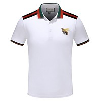 GUCCI Fashion Men Casual Bee Embroidery Lapel Shirt Top Tee White