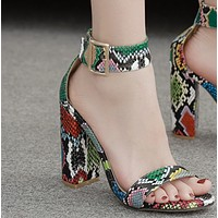 Hot style snake-print open-toe sandals with thick heels and extra high heels shoes