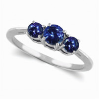 .50ct three stone tanzanite ring in 14k white or yellow gold