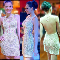 See Through Back Short Party Dress Hot Sexy Night Gown With Full Pearls Luxury Cocktail Dresses Custom Made 2016 Sunmmer Dress