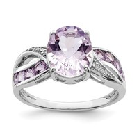 Sterling Silver Diamond & Pink Rose De France Amethyst Ring
