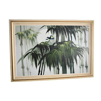 1960s Tropical Palm Trees Oil Painting Large 41X29 Signed Coastal Decor