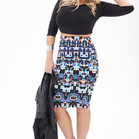 FOREVER 21 PLUS Abstract Print Pencil Skirt Black/Coral