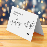 Thank you note for wedding, Thank you for being my makeup artist card printable, Thank you card wedding reception, Thank you wedding card