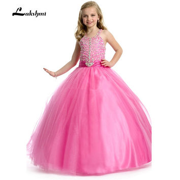 2016 Celebrity Girls Pageant Dresses for little girls Rhinestone Crystal Beaded Hot Pink Puffy Girls Ball Gown Kids Prom Dress