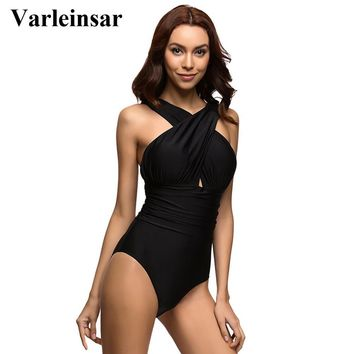 Halter one piece swimsuit scalloped bathing suit