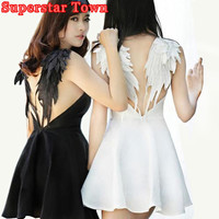 Dark Angel Wings Embroidery Dress Sexy Summer  Backless Dress Lolita Gothic Swan Dresses For Party Wedding Hot
