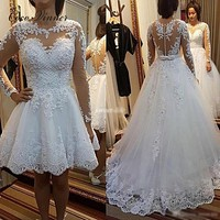 C.V Fashion Two In One Wedding Dresses 2018 Bow Pretty Pearls Beads Embroidery Appliques Custom Made A line Wedding Dress W0278