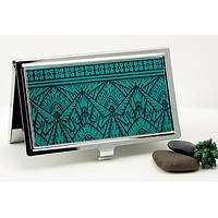 Empire Art Deco Business Card Case in Bold Teal and Black