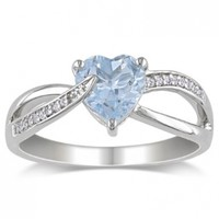Sterling Silver Aquamarine and Diamond Ring (0.05 cttw, G-H Color, I2-I3 Clarity)