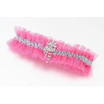 Hot Pink Tulle and Rhinestone Garter