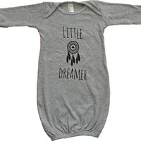 Little Dreamer- Baby Long Sleeve Gown - Newborn Baby Gown