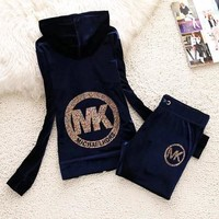 MK Michael Kors Fashion New Diamond Letter Hooded Long Sleeve Top And Pants Sports Leisure Two Piece Suit