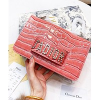 DIOR New Hot Sale Women Shopping Bag Leather Satchel Crossbody Shoulder Bag Pink