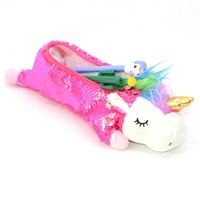 Girls Unicorn Sequin Crayon Pencil Case