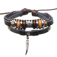 Free Shipping 2016 New Vintage Leather Wood Beads Bracelet Wolf Tooth Pendant Punk Bracelets For Women / Men Jewelry Pulseira