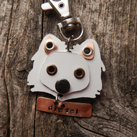 Keychain ID Key Chain Tag American Eskimo Dog Breed Dog Pet Lover Copper Aluminum Custom Rivets Stamped